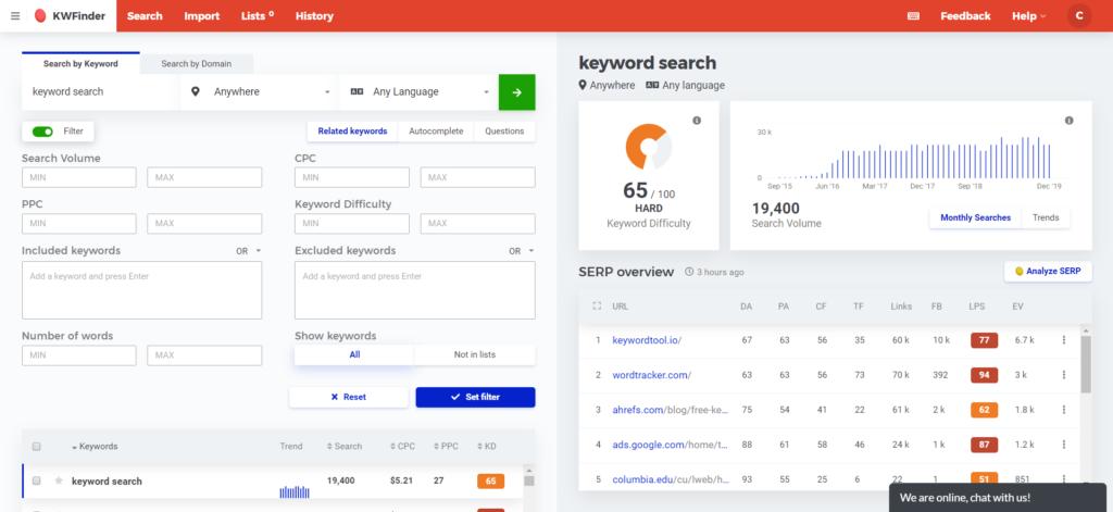 KW Finder Keyword Search